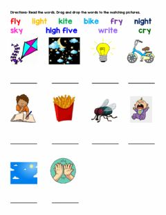 Interactive worksheet Long i Spelling - Picture Matching