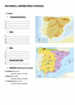 Interactive worksheet Parte 2 relieve de españa mapas