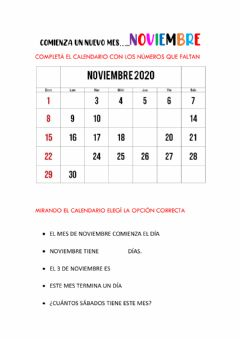 Interactive worksheet Calendario del mes de noviembre
