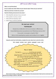 Interactive worksheet Article writing