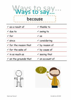 Interactive worksheet Ways to say because
