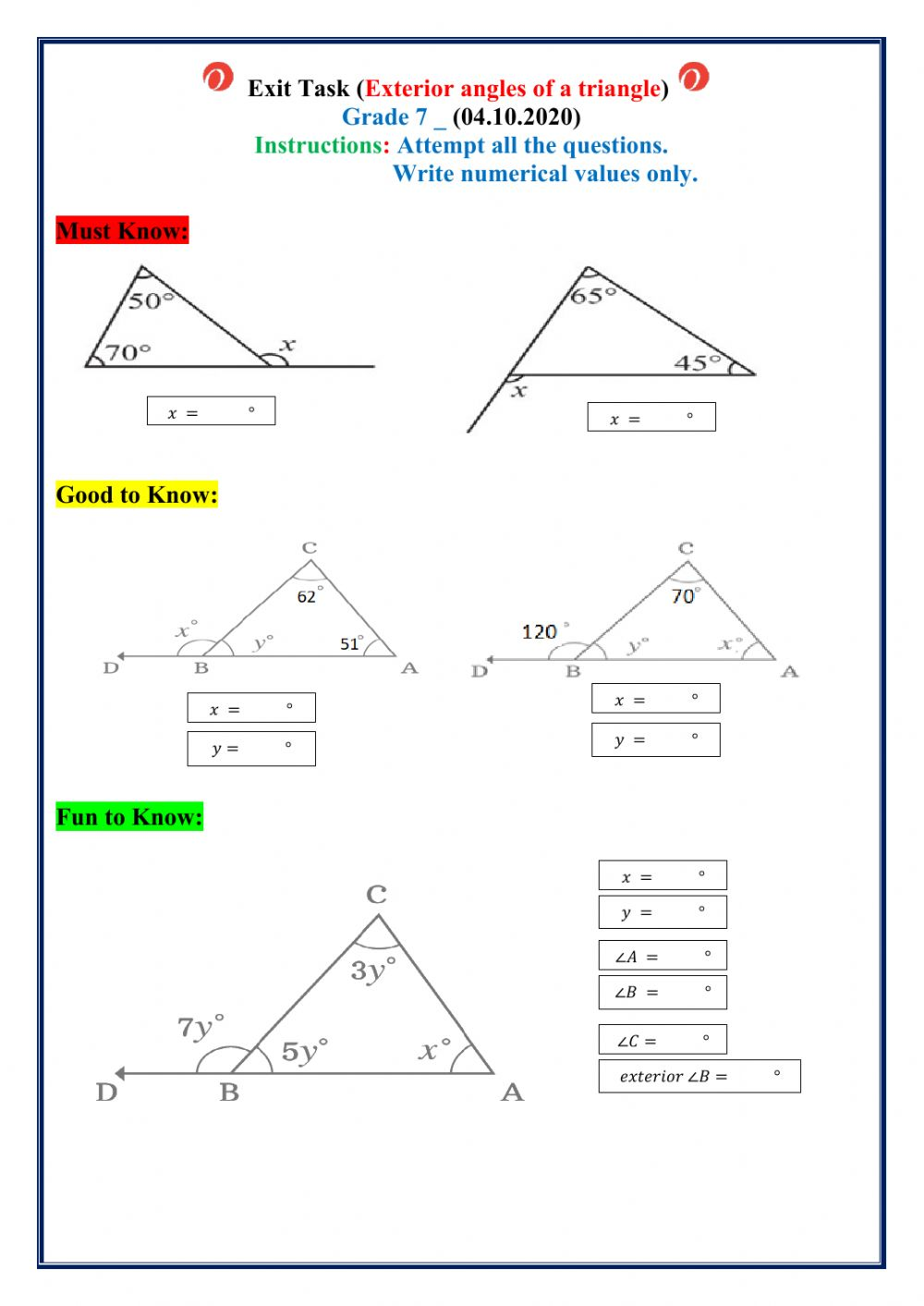 Exterior angles of a triangle worksheet