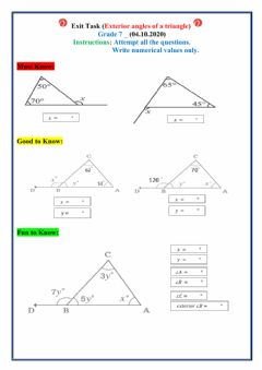 Interactive worksheet Exterior angles of a triangle