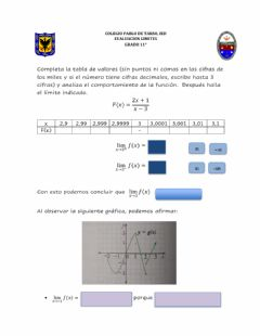 Interactive worksheet Taller sobre limites laterales