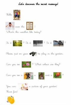 Interactive worksheet Secret message: In the garden