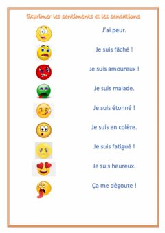 Interactive worksheet Les sentiments et les sensations