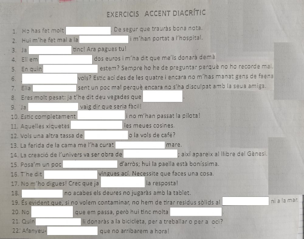 Accent Diacrític Worksheet
