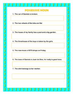 Interactive worksheet Possessive noun