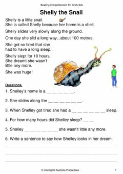 Interactive worksheet shelly the snail - Reading