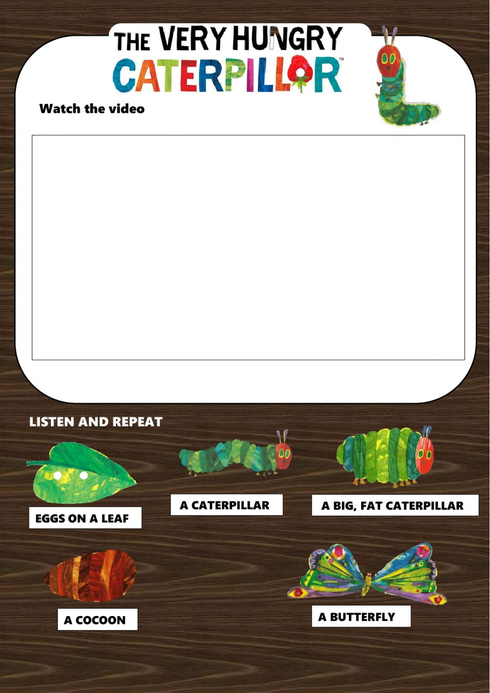 The very hungry caterpillar online exercise for 21 grade