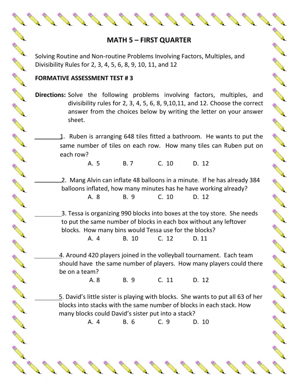 Math 5 Q1 Assessment Test 3 Worksheet