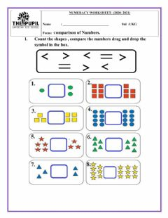 Interactive worksheet Greater than , Less than