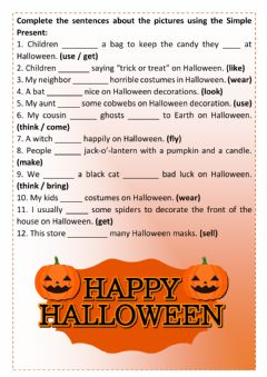 Interactive worksheet Halloween Present Simple