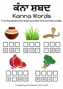 Interactive worksheet Kanna Words in Punjabi 2