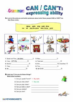 Interactive worksheet Modal Verb Can Can't