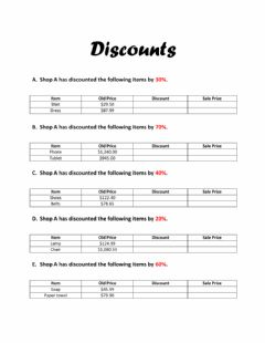 Interactive worksheet Discounts