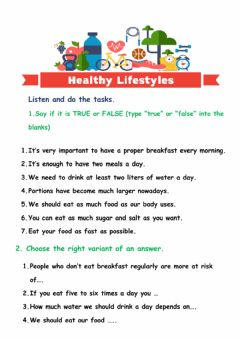 Interactive worksheet A healthy lifestyle