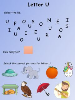 Interactive worksheet Letter U