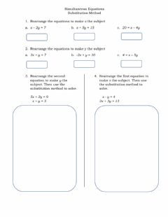 Interactive worksheet Simultaneous Equations - Substitution