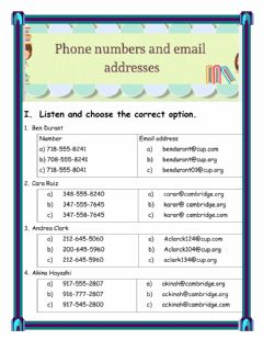 Interactive worksheet PHONE NUMBERS AND EMAIL ADDRESSES LISTENING