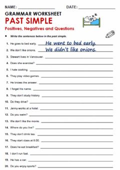 Ficha interactiva Past Simple Tense Worksheet