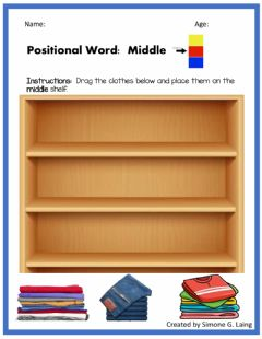 Interactive worksheet Positional Word:  Middle