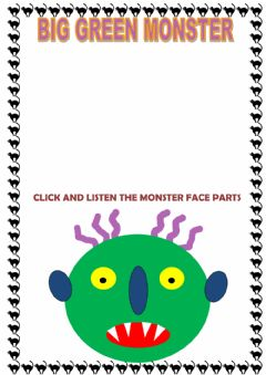 Interactive worksheet Big green monster STORY