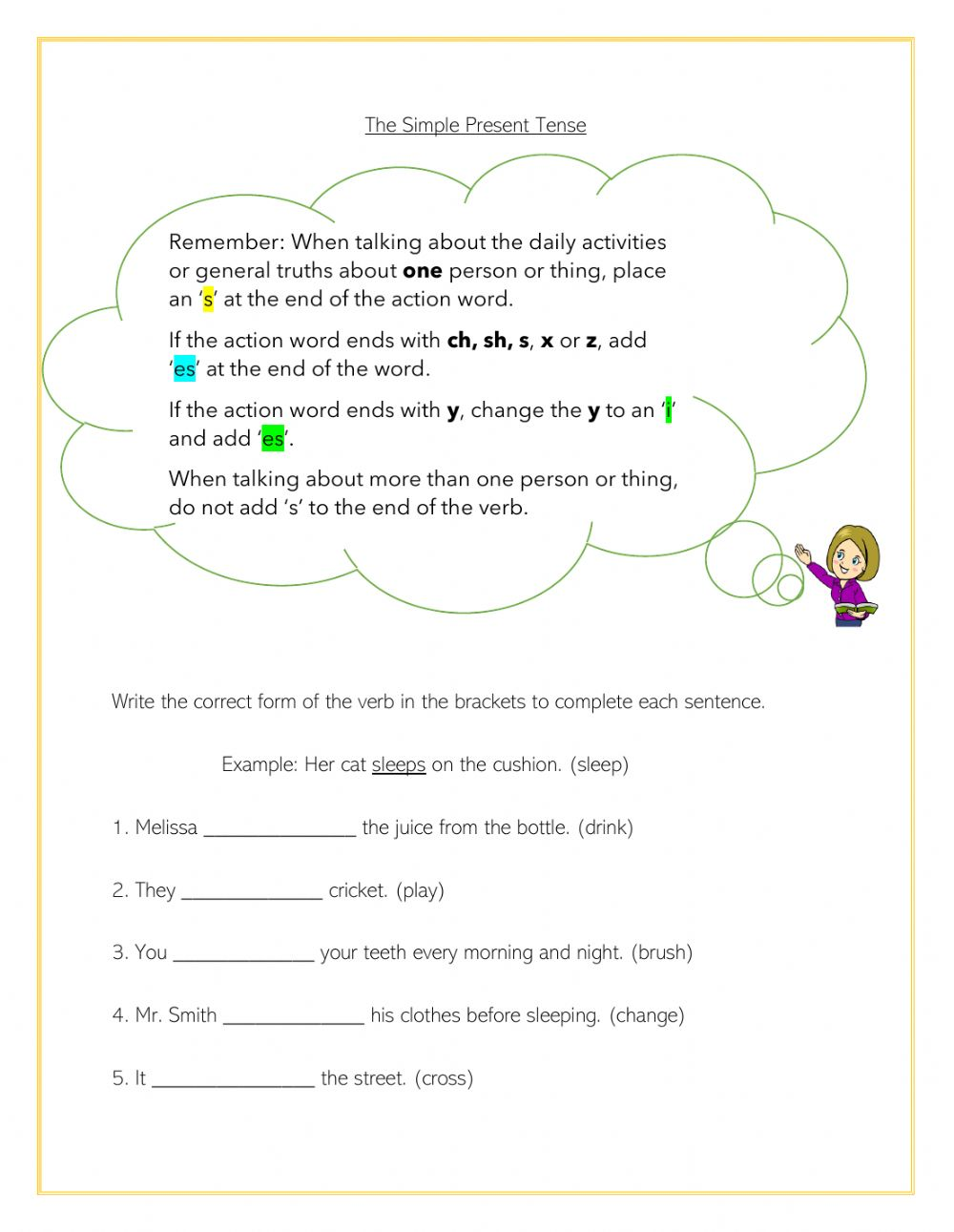 The Simple Present Tense All Rules Worksheet