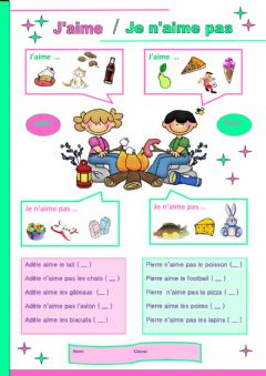 Interactive worksheet J'aime - Je n'aime pas