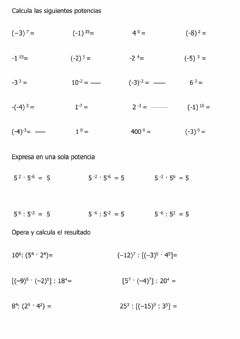 Interactive worksheet Potencias base y exponente enteros