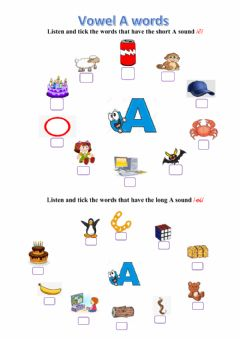 Interactive worksheet Vowel A (short & long sound)