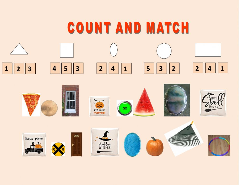 Count And Match Interactive Exercise For KINDERGARTEN