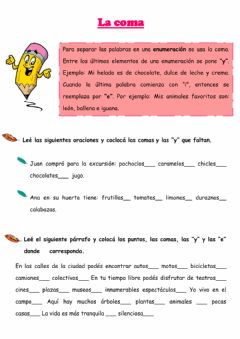 Interactive worksheet El uso de la coma