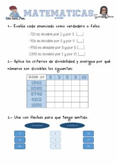 Interactive worksheet Criterios de divisibilidad 2