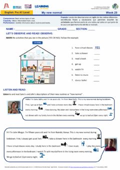 Interactive worksheet Week29: My New norma- Nivel Pre A1
