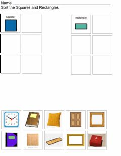 Interactive worksheet Square and rectangle sort