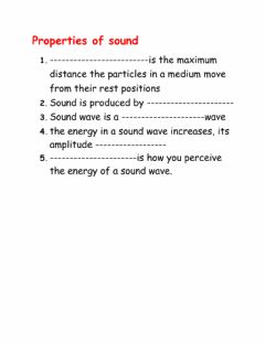 Interactive worksheet Properties of sound