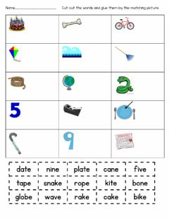Interactive worksheet Silent E Sort