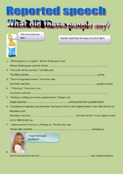 Interactive worksheet Reported speech - Celebrity quotes