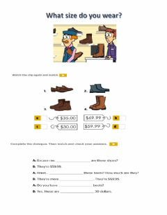 Interactive worksheet What size do you wear?