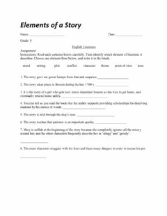 Interactive worksheet Elements of a Story