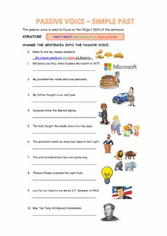 Interactive worksheet Passive voice in the past