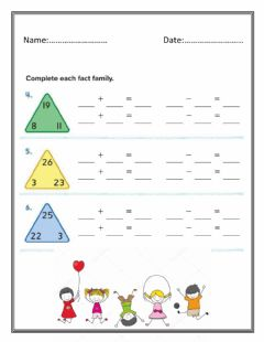 Interactive worksheet Two - Digit Fact Family
