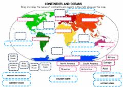 Interactive worksheet Continents, oceans and characteristics of the oceans