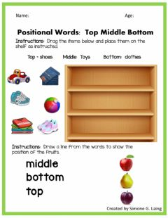 Interactive worksheet Top Middle Bottom