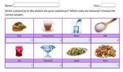 Interactive worksheet Pure substance or mixture