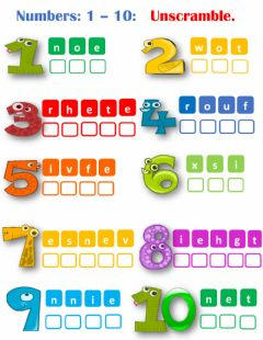 Interactive worksheet Numbers 1-10 unscramble