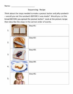 Interactive worksheet SEQUENCING:  Recipe