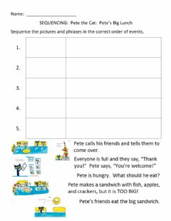 Interactive worksheet SEQUENCING:  Pete the Cat