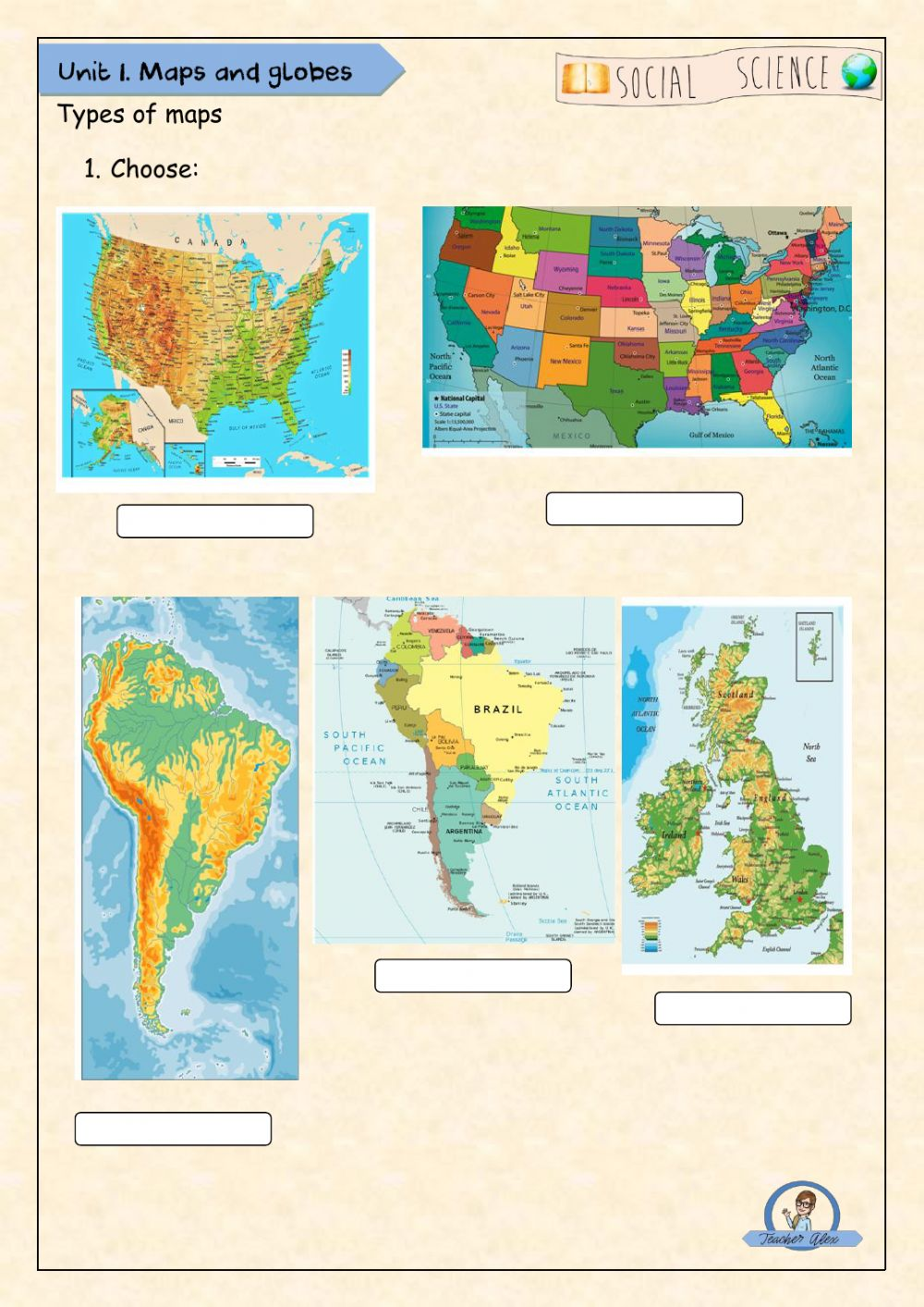 Types of Maps interactive worksheet